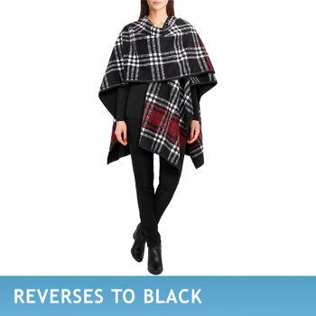 Ike Behar Ladies' Reversible Fashion Wrap-Black & Red Plaid