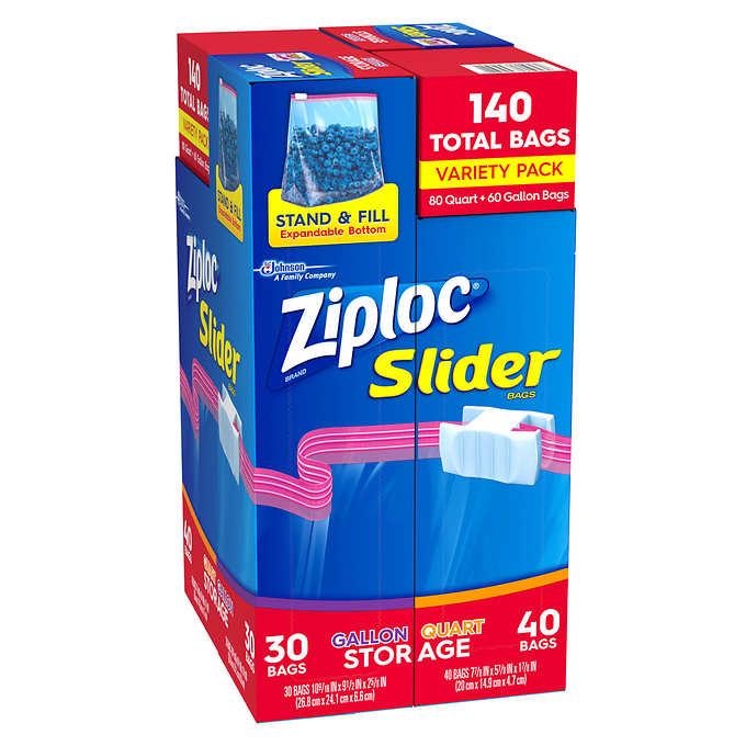 Costco Com Online: Ziploc EZ Zipper Mixed Pack 80 Quart, 60 Gallon, 140 Bags
