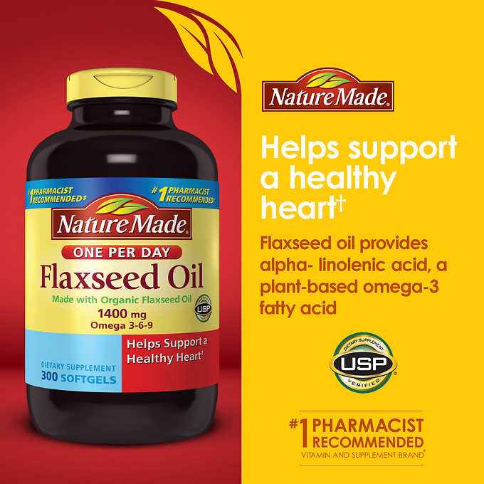 Nature Made Flaxseed Oil 1400 mg , 300 Softgels